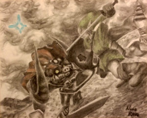 Ocarina: Final Strike 2016 Charcoal and Colored Pencil on paper.